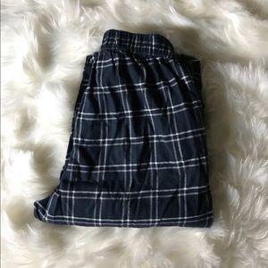 Mens' soft dark blue flannel PJ bottoms